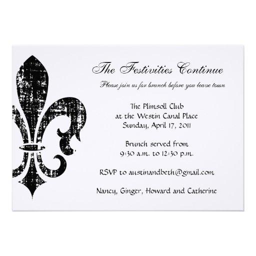 Wedding Information Card | New Orleans | Black