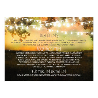 Wedding information cards with string lights