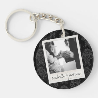 Wedding Instagram Photo Retro frame Custom Text Single-Sided Round Acrylic Key Ring