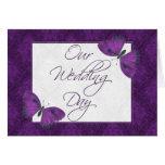 Wedding Invitation 5X7  Butterfly Brocade Purple