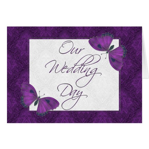 Wedding Invitation 5X7  Butterfly Brocade Purple Greeting Card