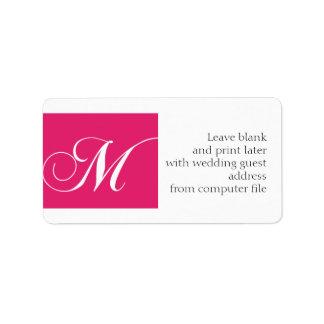 Wedding Invitation Address Labels Pink Monogram M