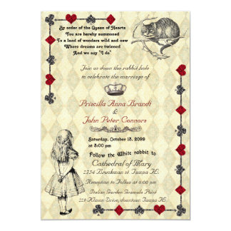 "Wedding Invitation ""Alice in Wonderland"" 5x7"