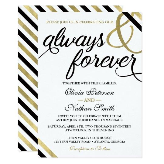 Wedding Invitation, Always & Forever, Black, Gold Card
