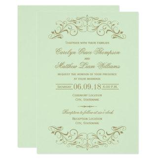 Wedding Invitation | Antique Gold Flourish