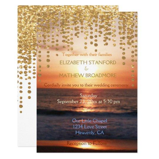 Wedding Invitation | Beach Sunset Glitter