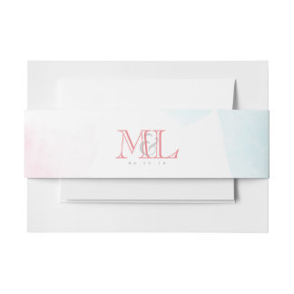 Wedding Invitation Belly Band Wrap | Watercolor