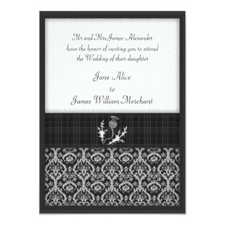 Wedding Invitation Black and White Tartan & Damask
