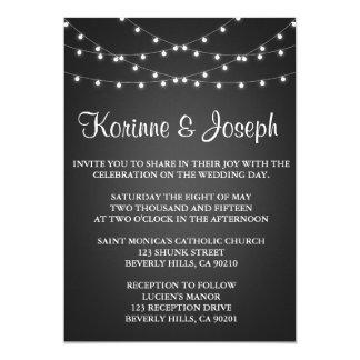 Wedding Invitation Black, Chalkboard, String Light