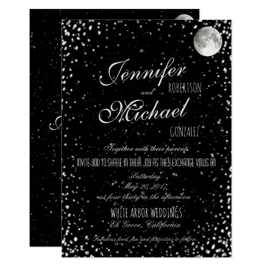 Wedding Invitation | Black Starry Night Moon