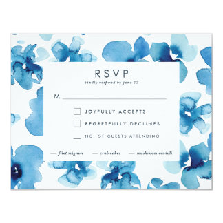 Wedding Invitation *Blue Garden* RSVP