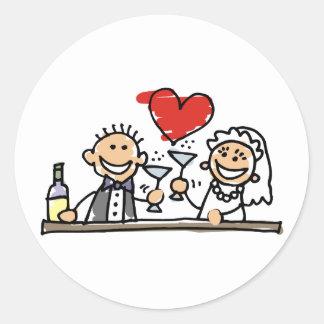 Wedding Invitation Bride Groom RSVP Save The Date Round Sticker