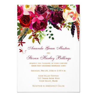 Wedding Invitation - Burgundy Floral, Feathers