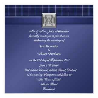 Wedding Invitation Celtic Patriot Tartan in Blue