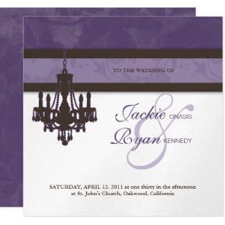 Wedding Invitation Chandelier Purple Silver Floral