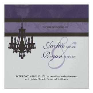 Wedding Invitation Chandelier Purple Silver Floral
