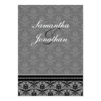 Wedding Invitation Charcoal Grey Elegant Damask