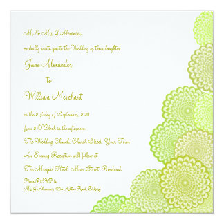 Wedding Invitation Chartreuse Green Vector Flowers