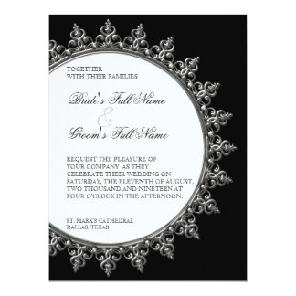Wedding Invitation - Classic Baroque Swirl Circle