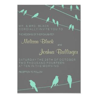 """Wedding Invitation Contemporary Bird on a Wire 5"""" X 7"""" Invitation Card"""