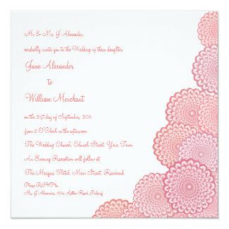 Wedding Invitation Coral Pink Vector Flowers