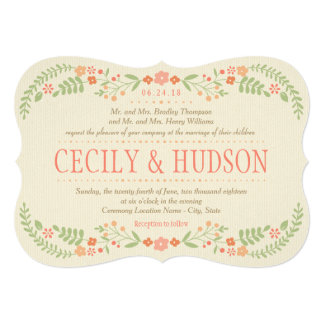 Wedding Invitation | Country Florals Pink
