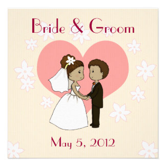 Wedding invitation cute couple cartoon