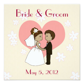 "Wedding invitation cute couple cartoon 5.25"" square invitation card"