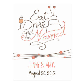 Wedding invitation design postcard