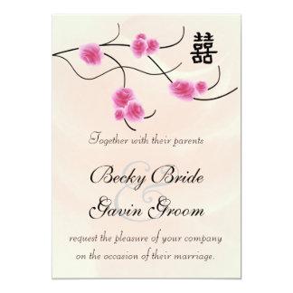 "Wedding Invitation Double Happiness Cherry Blossom 5"" X 7"" Invitation Card"