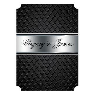 Wedding Invitation, Elegant Black and Silver