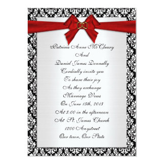 Wedding invitation elegant Damask with red bow