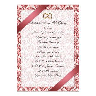 Wedding invitation elegant red damask