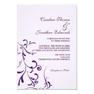 "Wedding Invitation | Floral Grace III |lavp 3.5"" X 5"" Invitation Card"