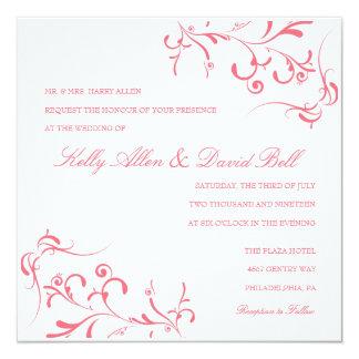 "Wedding Invitation | Floral Grace III |purpi 5.25"" Square Invitation Card"