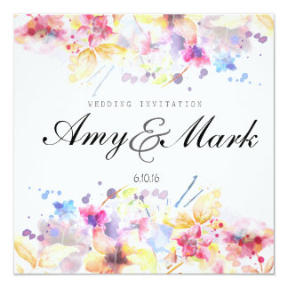 Wedding Invitation - Floral Watercolor