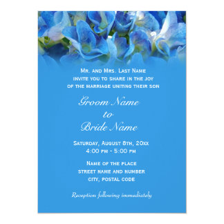 wedding invitation from groom's parents, blue