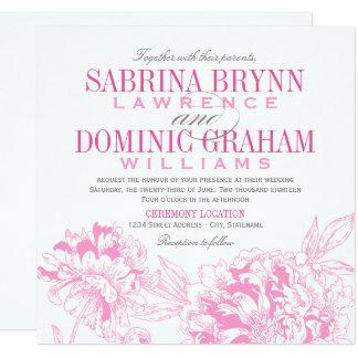 Wedding Invitation | Fuchsia Floral Peony Design