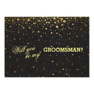 Wedding Invitation Gold Confetti GROOMSMAN Invite