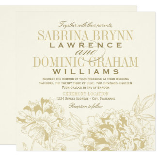 Wedding Invitation | Gold Peony Design