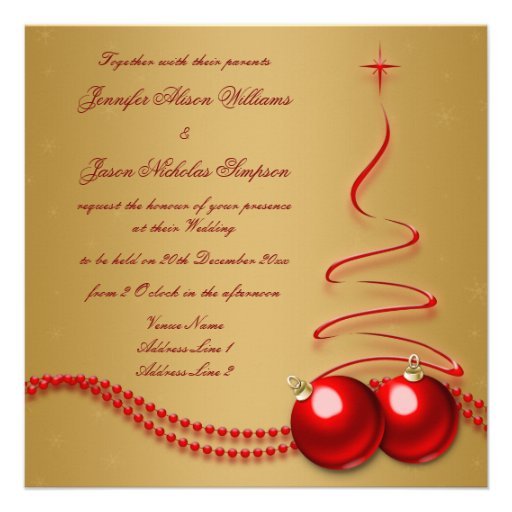 Wedding Invitation Gold with Red Christmas Tree