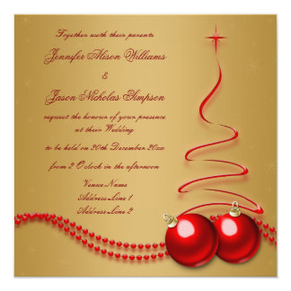 "Wedding Invitation Gold with Red Christmas Tree 5.25"" Square Invitation Card"