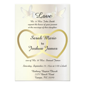 Wedding Invitation - Golden Hearts Theme