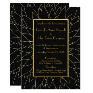 Wedding invitation, great gatsby, dahlia geometric card