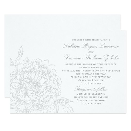 Wedding Invitation | Grey Floral Peony