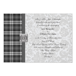 Wedding Invitation Grey Watch Tartan and Damask