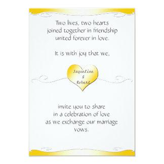 Wedding Invitation -Heart and Swirl Gradient Gold