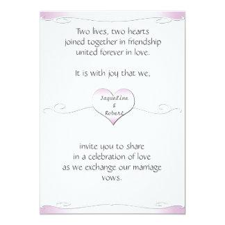 Wedding Invitation-Heart and Swirl Gradient Pink