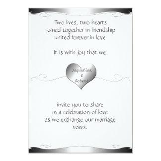 Wedding Invitation-Heart and Swirl Gradient Silver 13 Cm X 18 Cm Invitation Card
