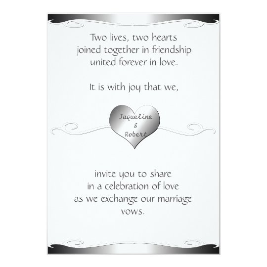Wedding Invitation-Heart and Swirl Gradient Silver Card